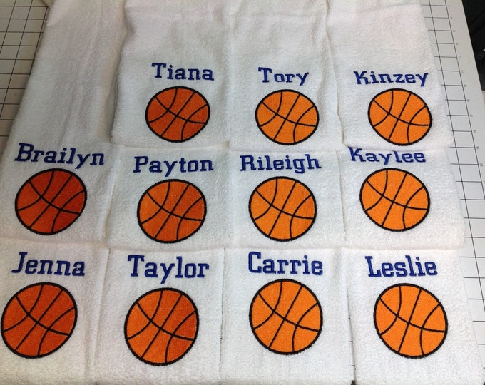 12 Personalized basketball towels, free shipping, great seller, basketball team towels, basketball gift *one name on this listing, 12 x 17