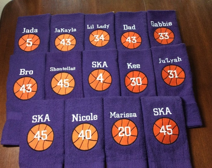 Personalized sport towels, football, basketball towel, monogrammed, basketball team towels, basketball gift, message for team orders, name a