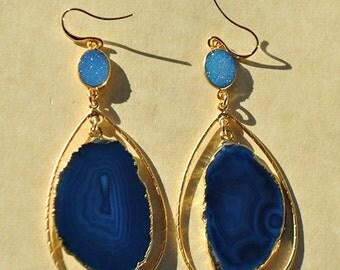 SALE Blue Druzy Earrings - Agate Slice Earrings - Large Hoop Earrings - Gemstone Hoop Earrings - Long Drop Earrings - Gold Druzy Earrings
