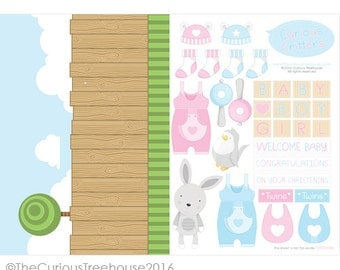 New Baby Craft Card A4 Digital Download Christening, Baby Boy, Baby Girl, Twins