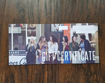 Gift Certificate for fashion retailer consultant boutique clothing