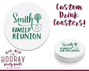 Family Reunion Coasters, Family Trip Coasters, Party Favors, Family Tree, Personalized Coaster, Anniversary Party Gifts, Family Trip, 1538
