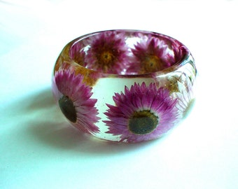 Hand Made Chunky  Real Pink Chrysanthemums Resin Bangle,Real Flower,Gift idea