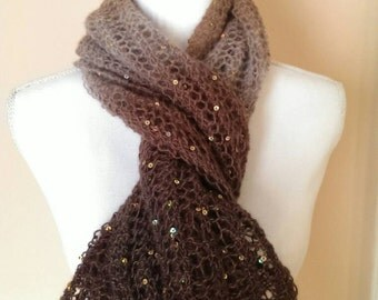 Hand knit scarf  shawl  Brown tones sequins lace