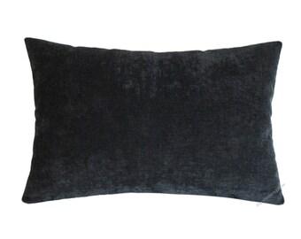 "Graphite Gray Velvet Decorative Throw Pillow Cover / Pillow Case / Cushion Cover / 12x16"""