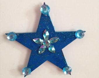 hand painted Wooden Star fridge magnet