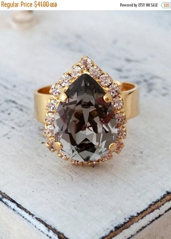 sale smokey grey adjustable gemstone ring gray