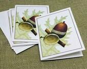 Acorn Note Cards, Oak Acorn Card, Woodland Stationary, Set of 10, Nature Notecard Botanical notecard, Personalized Notecard, Thank you cards
