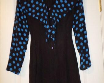Vintage Romper Jumper M Padded Shoulders Long Sleeve Polka Dot  Navy Blue Belted