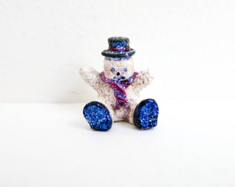 Vintage Miniature Snowman with Sparkling Glitter - Red White and Blue - Miniature Christmas Decoration