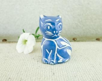 Vintage Miniature Blue Cat- Folk Art Pottery Cat Sculpture by Pablo Zabal Chile - Abstract Modern Cat - Modern Decor - Blue Decor