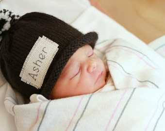 Baby Boy Hat, Knit hat, Baby Girls hat, New Baby, Personalized, Monogram, Baby Shower, Gift, New Baby Gift, Photo Prop, hat with name,