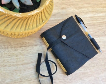 Black Leather Journal-Handmade Abstract Leather Sketchbook with Yellow Stitching-Silver Button