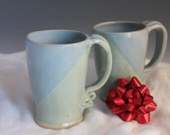 Matching coffee mugs - blue and green - tall mugs - stoneware mugs