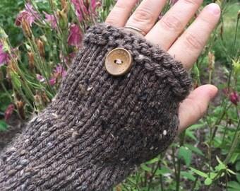 Fingerless gloves, texting gloves, tweed texting gloves, rustic brown tweed, vegan acrylic arm warmers, boho tweed texting gloves,