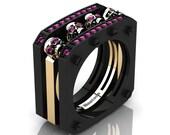 Mens Modern 14K Black and Yellow Gold Pink Sapphire Skull Cluster Wedding Ring R813-14KBYGPS