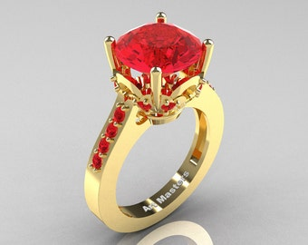 Classic 14K Yellow Gold 3.0 Carat Ruby Solitaire Wedding Ring R301-14KYGR