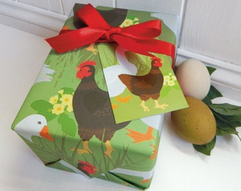 Hen & Goose Gift Wrapping Paper Set - Farm, Chicken, Easter