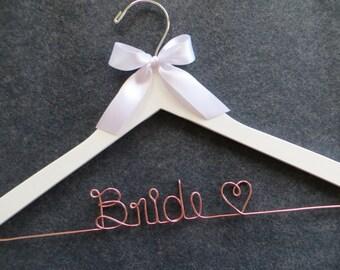 Rush Order ROSE GOLD Wedding Hanger, Rose Gold Bridal Hanger, White Hanger, Bridal Hanger, Personalized Hanger, Engagement Gift, Bride Gift