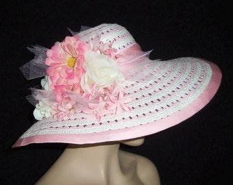 Ladies White and Pink Hat - Wide Brim Pink Hat