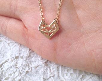 Geometric, Origami Fox Necklace - Gold