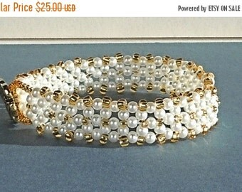 Clearance Sale White Pearl Cuff Bracelet - Gold Seed Beads - Gold Flower - Button Clasp - Bead Weaving - Handmade
