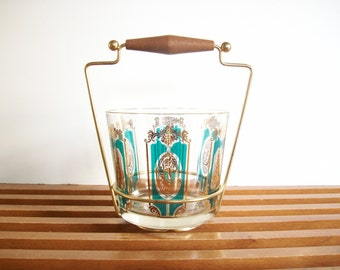 Vintage Ice Bucket and Caddy, Teal and Gold, Retro Barware, Mad Men Era, Mid-Century Cocktail Bar Cart MCM