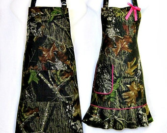Apron His & Hers SET, Woodland CAMOFLAUGE, Fun Camping Hunting BBQ Grill Picnic Unique Kitchen Gift