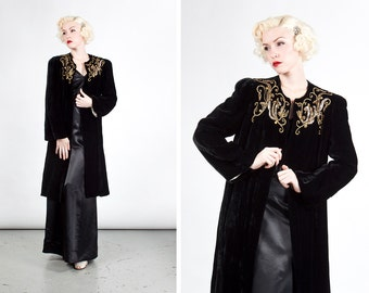Vintage 1940s Black Evening Coat with Gold Sequin Embroidery
