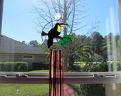 Stained Glass Toucan Dream Catcher - Handcrafted Authentic Stained Glass set inside a Silver Ring, Garden Accent, Windcatcher