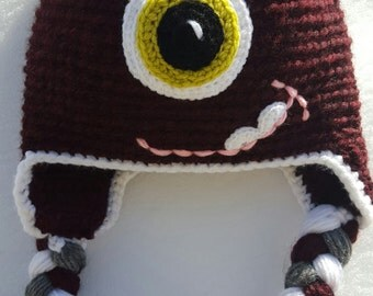 Super Warm Cute Double Pom Pom Monster Girl Hat. Bland of Lamb's Wool and Acrylic Darck Cherry
