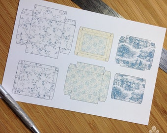 PRINT OUT Blue Toile Box Set for Dollhouse Miniature 1/12 Scale