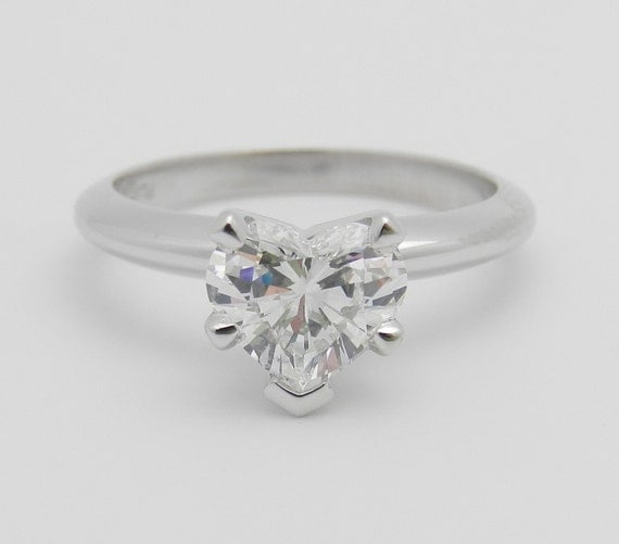SOLITAIRE Heart Diamond Engagement Ring Platinum 1.04 ct EGL USA Size 5