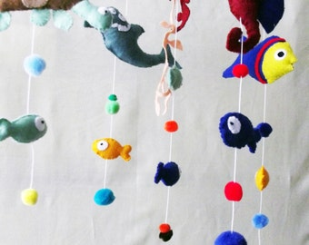 Sea Creatures Mobile, Nursery Decor, New Baby Gift, Fish Mobile, Cot Mobile, Baby Mobile, Hanging Decoration