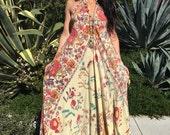 Indian Boho Dress// Vintage Cotton Sleeveless Handmade Kaftan// Maxi Dress// Hippy Kaftan