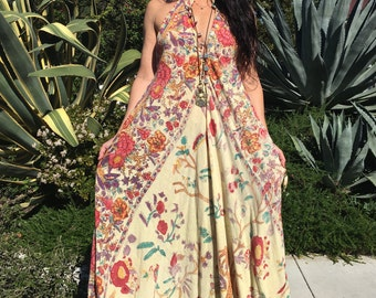 Indian Boho Dress// Vintage Cotton Sleeveless Handmade Kaftan// Maxi Dress// Hippy Kaftan
