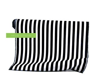 "Black White Striped Table Runner Cotton 14"" x 108"""