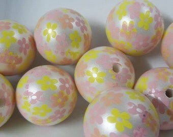 20mm, 10CT,Yellow and Pink Floral Print Gumball Beads, C33