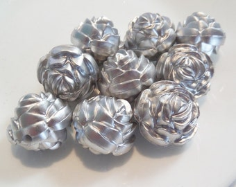 25mm, 10CT, Silver Rose Flower Chunky Beads, J15