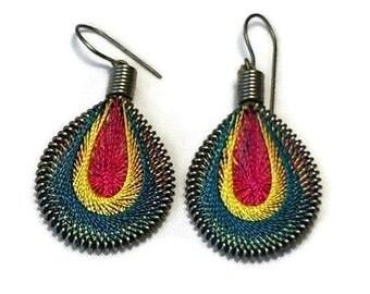 Silk Thread Earrings, String Earrings, Oval Earrings, Green Yellow Red Earrings, Dangle Earrings