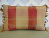 Plaid Pillow in Gold and Orange / Gold Orange Pillow / Faux Silk Pillow / Accent Pillow / Decorative Pillow