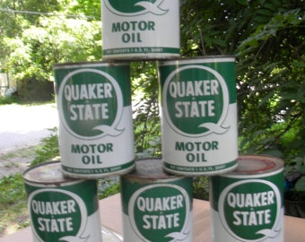 6 vintage unopened 1960s metal QUAKER state OIL quart CANS advertising