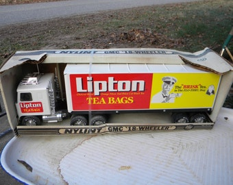 great shape clean never used 80s vintage advertising nylint LIPTON TEA bags semi tractor trailer gmc TRUCK 18 wheeler original box