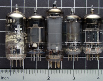 Lot of 5 Vintage Vacuum Tubes, Radio and Tv Electron Tubes, Electronic Parts in Glass and Metal, Guitar Amp or Amplifier Tubes 03773