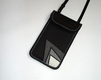 iPhone 6s Plus Cover Smartphone Pocket neck case Crossbody Purse cellphone sling bag iPod Cover elegante case mixed fabrics Black White Gray