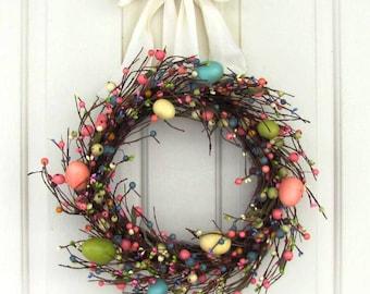 SALE - Mini Wreath - Spring Wreath - Easter Wreath - Pastel Egg & Pip Berry Wreath - Window Wreath - Primitive Wreaths - Home Decor - Easter