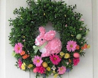 SALE - READY To SHIP - Easter Wreath - Boxwood Wreath - Bunny Wreath - Spring Wreath - Easter Egg Wreath - Pantry Decor - Condo Door