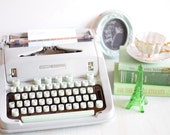 Vintage Typewriter in Green and  Gray - Manual and Portable with Hard Case -  Hermes 3000 Brand