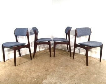 Erik Buch Rosewood Dining Chairs FREE SHIPPING Set of 4 Model 49 Floating Seat Dining Chairs Erik Buck