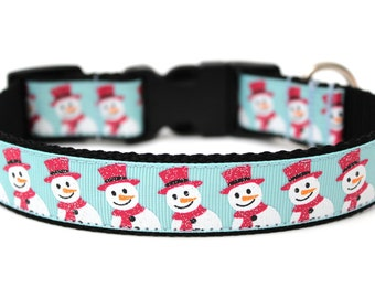 "Winter Dog Collar 1"" Snowman Dog Collar SIZE MEDIUM"